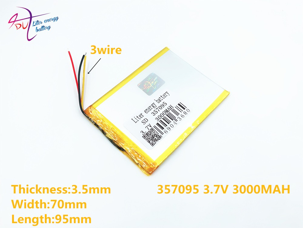 3 line Liter energy battery 357095 3.7V 3000MAH 357096 (polymer lithium ion battery) Li-ion battery for tablet pc 7 inch MP3 safetypacking level4 5pcs rechargeable lipo battery cell 3 7 v 8873130 10000 mah tablet battery brand tablet gm lithium polymer