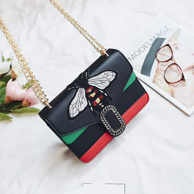 Luxury Brand Shoulder Bags Women Embroidery Bee Bag Metal Chain Stripe Crossbody Bags Female Student Girl Flasp Handbags Bolsas