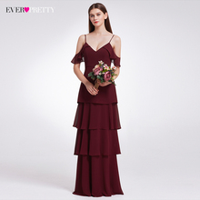 Brudepige Kjoler Ever Pretty V-neck Ruffles Justerbar Spaghetti Straps Kold Shoulder Tiered Chiffon Party Kjoler EP07202