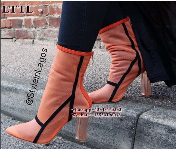 Hot Sale Sexy Pointed Toe Orange Clear heel Mesh Ankle Boots Transparent Chunky High Heel Shoes Women Fashion Sandals Booties цена