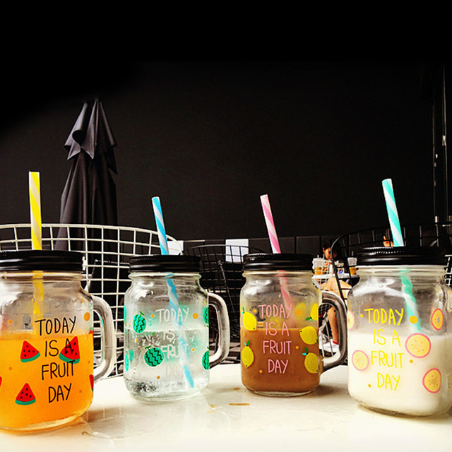 new 455ml transparent fruit juice cool drink glass cup lemon bottle with tin lid and plastic