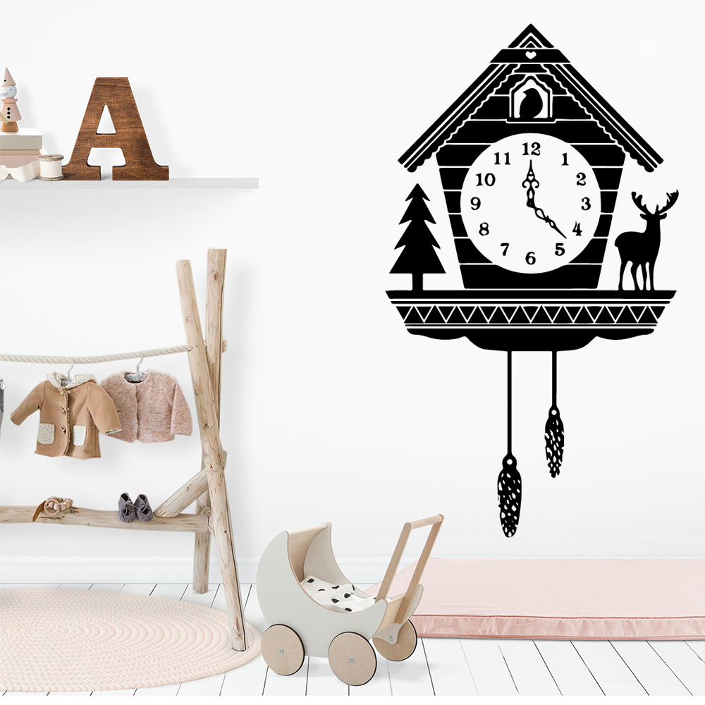 Lovely Alarm Clock Removable Art Vinyl Wall Stickers For Kids Room Decoration Nordic Style Home Decoration in Wall Stickers from Home Garden