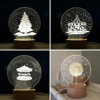 LED 3D Table Desk Lamp Christmas Tree Carousel Dandelion Dimmable Remote Control Perfect For Christmas Gift