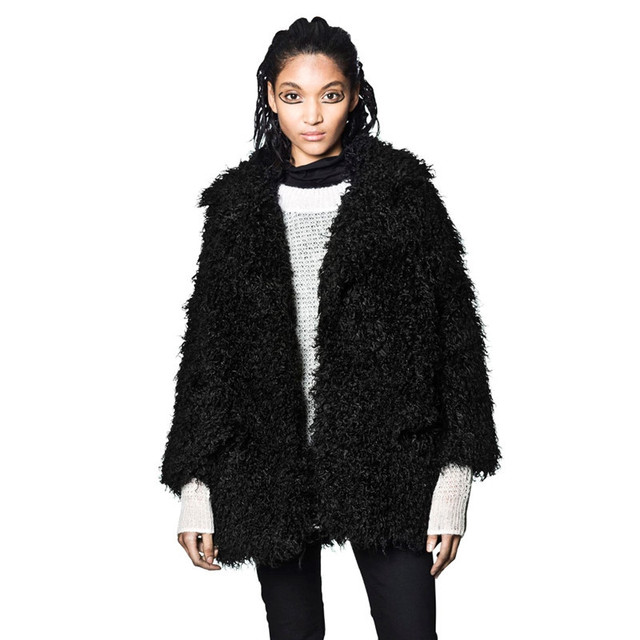ab65435c874 2017 Street Style Faux fur coat women long sleeve casual winter coats black  6xl 7xl Plus Size Lamb Fur Shaggy Outwear Tops