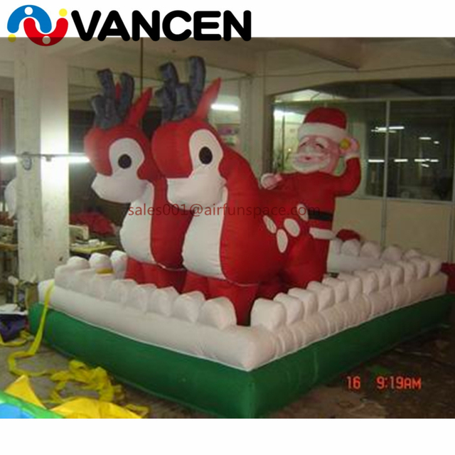 Attractive holiday decoration toys deerlet car inflatable santa with tractor promotional inflatable christmas toy from China