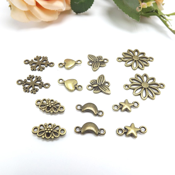 Beads & Jewelry Making Back To Search Resultsjewelry & Accessories Well-Educated Jewelry Finding & Components Parts Bronze Double Orifice Small Pendant Antique Brass Snow Love Accessories Diy #jz507 To Have Both The Quality Of Tenacity And Hardness
