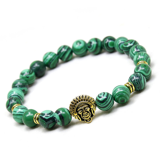 Indian Head Antique Silver Lucky Charm Natural Malachite Beads For Men Bracelets Women