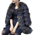 C618-Fashion natural   fur medium-long women's jacket,O neck,3 colors, autumn winter Plus size luxury coat of raccoon fur