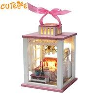 CUTEBEE Poppenhuis Miniatuur DIY Poppenhuis Met Meubels Houten Huis Roze Stijl Lantaarn Speelgoed Voor Kinderen Verjaardagscadeau M022