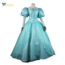 цены на The Little Mermaid Ariel Adult Dress Princess Ariel Green Gown Dress for Adult Cosplay Costume Custom Made  в интернет-магазинах