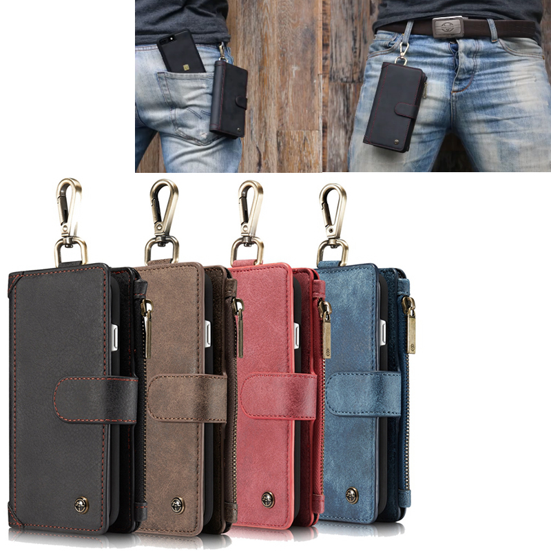 Caseme Vintage PU Leather Case Hook Loop Belt Clip Wallet Credit Card Holder Cover for iphone 6 6S 7 plus Samsung Galaxy S8 PLUS