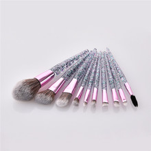 10Pcs/Set Makeup brushes set Women Foundation Powder Eye Shadow Brush Cosmetic Tools Sequins Quicksand Handle T10129