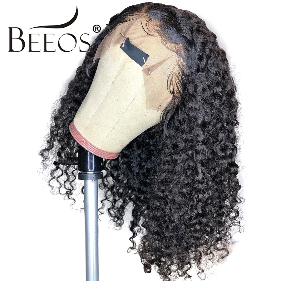 Beeos Deep Parting 13x6 Curly Lace Front Human Hair Wigs Pre Plucked Hairline Brazilian Remy Hair