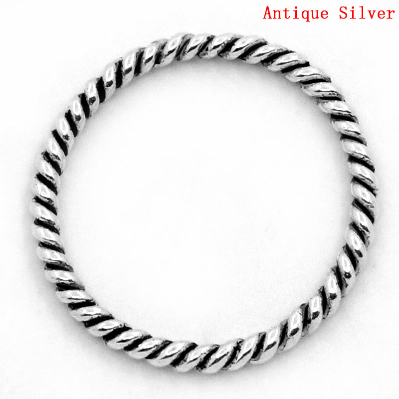 DoreenBeads Zinc Metal Alloy Closed Soldered Jump Rings Round Silver Color Stripe Pattern 18mm(6/8