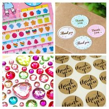 "1 Sheet Crystal Stone Stickers ""Thank You"" Craft Packaging Seals Kraft Sticker Label DIY Art Toys Bling Stickers DIY Decor(China)"