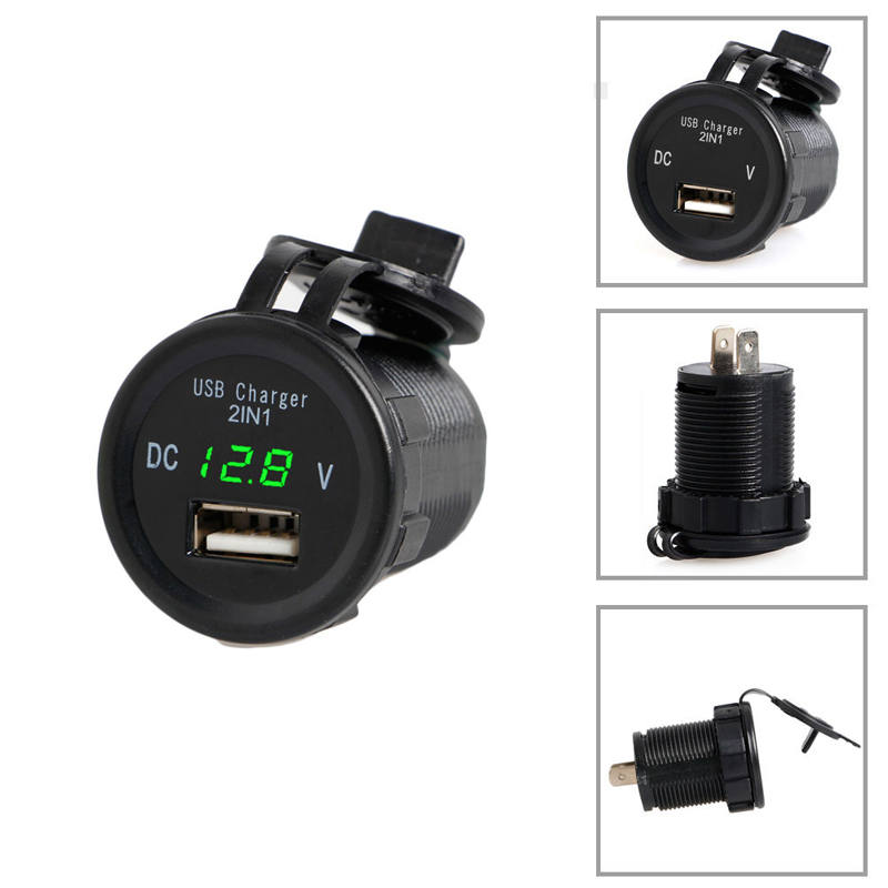 2 In 1 2 1A Waterproof USB Charger Port Phone Blue Led Voltage Digital Display For Car Motorcycle in Cigarette Lighter from Automobiles Motorcycles