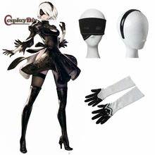 Cosplaydiy Game NieR:Automata 2B YoRHa No. 2 Hairband gloves goggles Adult Women Halloween Carnival Cosplay Accessories J15