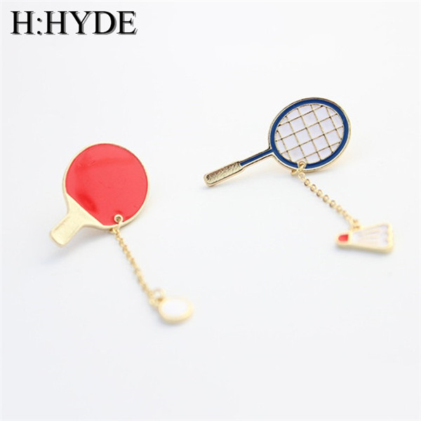 H:HYDE Fashion Brooch Pin Badges unique Design Badminton racket & Ping pong paddle Red Enamel Brooches for women men