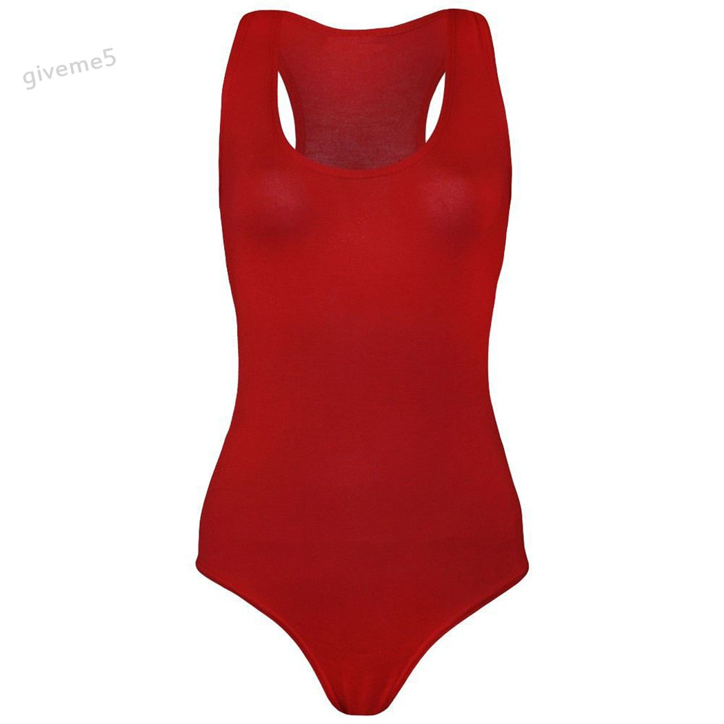 Womens Ladies Sleeveless Muscle Racer Leotard Stretchy Back Bodysuit Vest Top