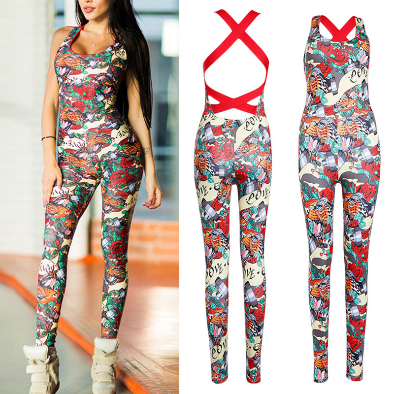 Women Printing Floral Design Sleeveless   Jumpsuit   Sportswear Tracksuit for Fitness H9
