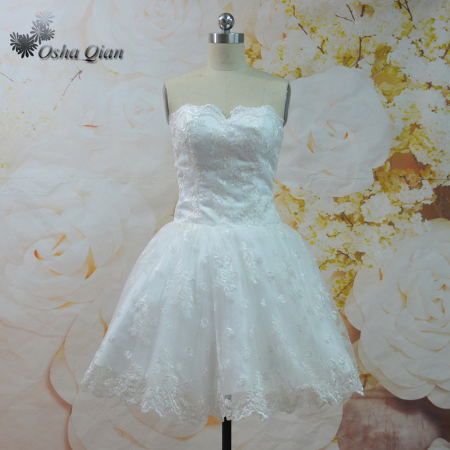 Imported Cute Short Wedding Dress Sweetheart Lace Mini Bridal Gown ...