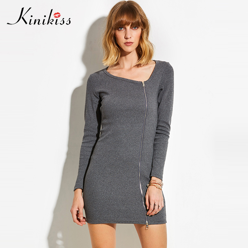 Kinikiss 2018 women elastic black bodycon dress spring autumn party dress gray sweater zippers sexy club dress knitted dresses baishanglinna 2018 new spring and summer women dress black gray sleeveless knitted dresses sexy tight elastic dress party dress
