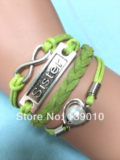 Big Discount!Braided Green Leather Ribbon Rope Heart Bead Sister Infinity Charm Bracelet Fashion Women Costume Jewelry K-949