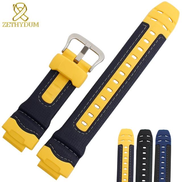 Bracelet en caoutchouc de silicone interface convexe bracelet de montre 16mm bracelet de montre en cuir véritable bord pour casio G 314RL 1A/G 315/bracelet de G 354