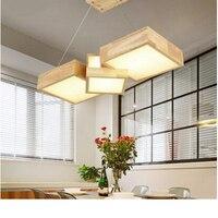 Твердая древесина квадратный сочетание подвесные светильники Гостиная Офис Деревянный droplight ресторан бар лампа японский подвесной светил