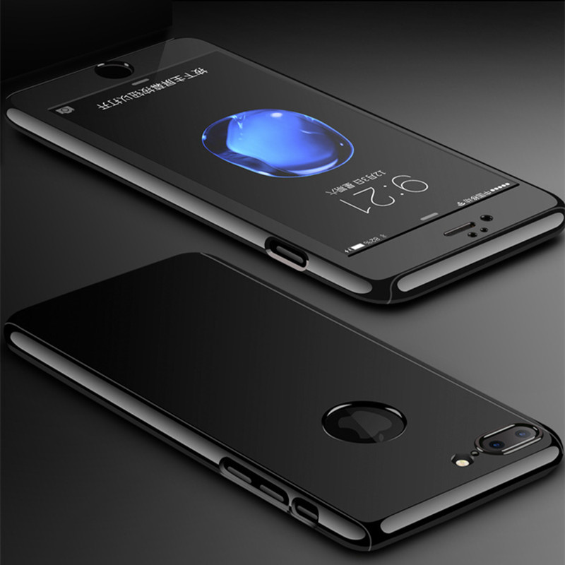 Luxury 360 Degree Bright Black Phone Cases For iPhone 6 6S 7 Plus 5 5S Slim Full Body Cover Matte PC Plastic Shell + Glass Film