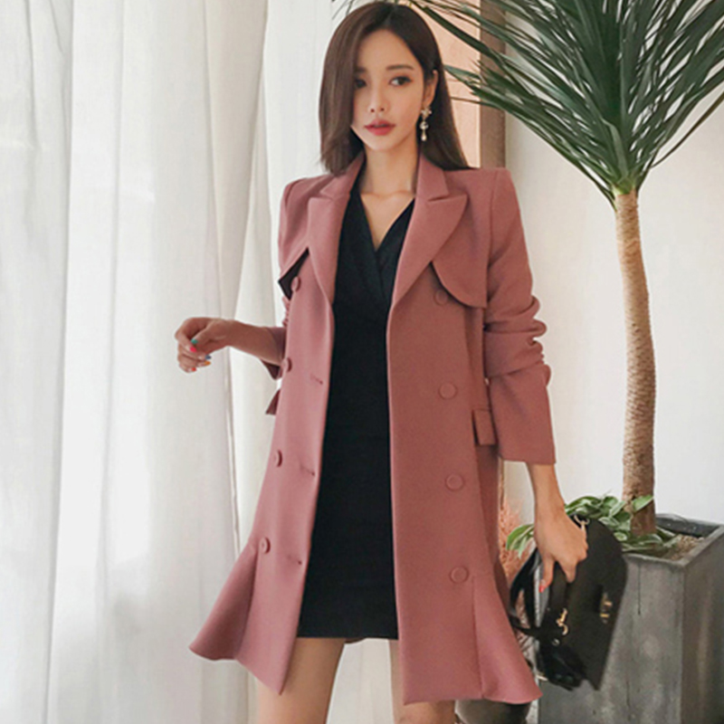 8c1a13e3bdb2 ... H Han Queen Korean Elegant Double-breasted Suits Dress Women Autumn  Winter Belted Waist Mini ...