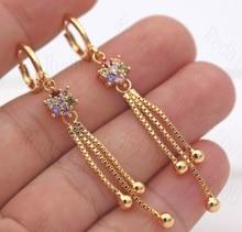 цена на Luxury Tassel Earrings for Women Gold Color Flower Drop Earring with Rainbow Zircon Trendy Jewelry for Wedding Engagement Gift