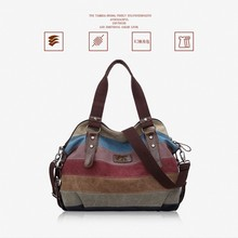 Fashion 2019 Spring Women Casual Girls Canvas Bag Brand Handbag Classic Patchwork Female Shoulder Bags Rainbow Purse Pouch