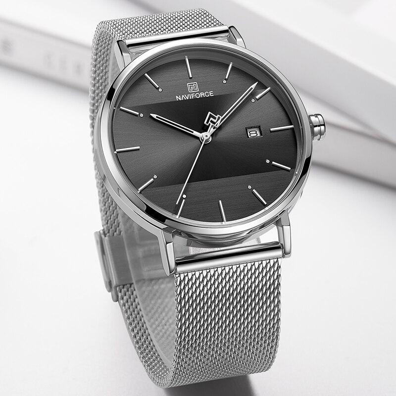 Image 3 - Men Watch Top Brand NAVIFORCE Stainless Steel Mesh Quartz Men's Watches Waterproof Date Business Wristwatch Relogio Masculino-in Quartz Watches from Watches