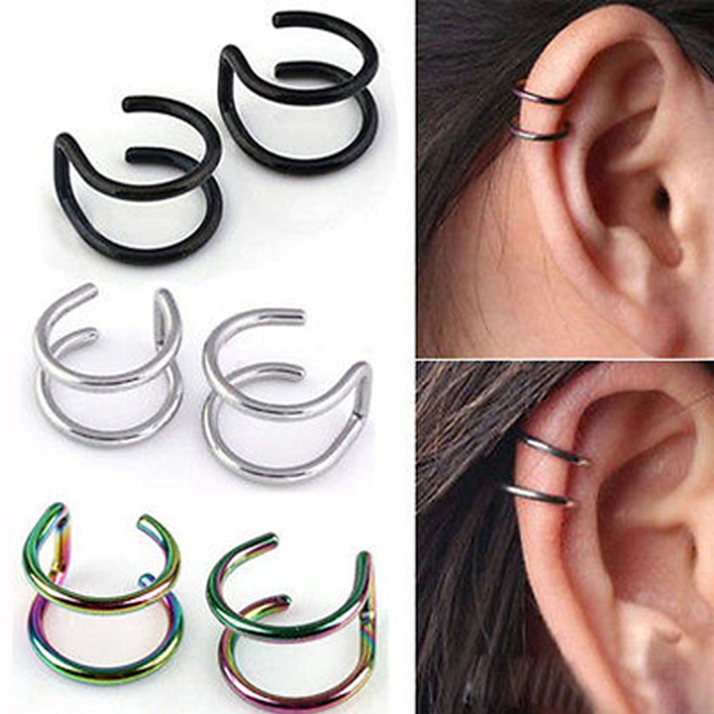 1PCS Women's Silver Clip On Wrap Earring Tragus Stainless Steel Earrings Clip For Men Nose Ring Fake Piercing Body Jewelry