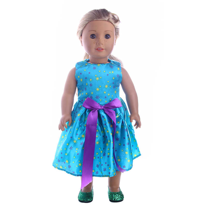 Luckdoll bonito vestido de princesa caber 18 Polegada americano 43cm bebê boneca roupas acessórios, meninas brinquedos, geração, presente