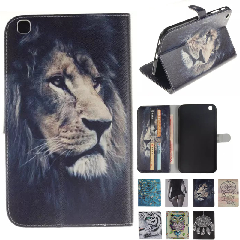 Чехол для планшета Samsung Galaxy Tab 3 8,0 T310 T315 SM-T310 чехол-накладка с откидной крышкой из искусственной кожи с изображением совы тигра льва
