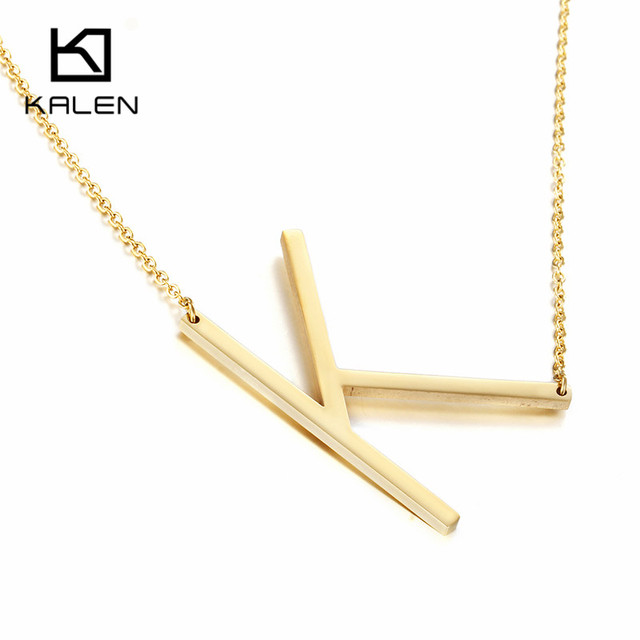 Letter k Necklace ALP Kalen Peru Gold Color Capital Letter K Pendant Necklaces For Women New  Brand Stainless Steel Alphabet