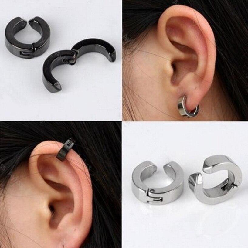 Homme Argent Acier Inoxydable Clip-on Faux Boucle d/'oreille bijoux Ear Clip Boucle d/'oreille Punk