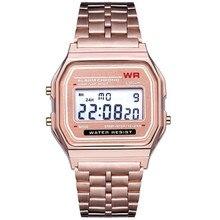 LED Digital Men's Waterproof Quartz Wrist Watch Dress Golden