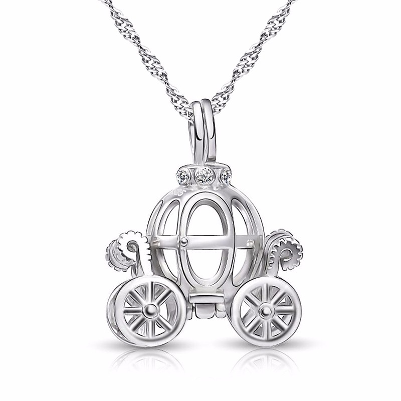 Solid 925 Sterling Silver Charm Hollow pumpkin car design Necklace for kids Fairy Tale Cinderella Carriage pendant Best gift (1)