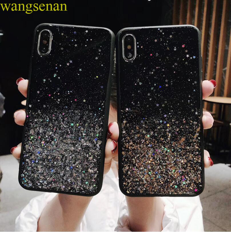 Glitter Bling Gold Foil Powder Star Cases For iPhone 6 6S 7 8 Plus X XS XR MAX Soft Cover Phone Case For iPhone 7 Back Protect