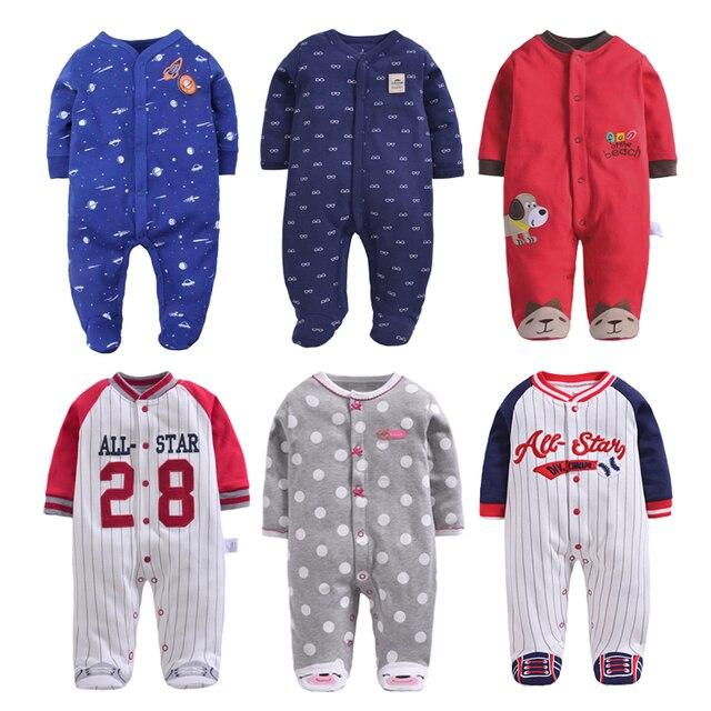 Nieuwe Geboren Baby Kleding 3-12M Kinderen Footed Pyjama Baby Jongens Meisjes Katoen Lente Roupas Cartoon Algehele Baby boutique Kleren Uit