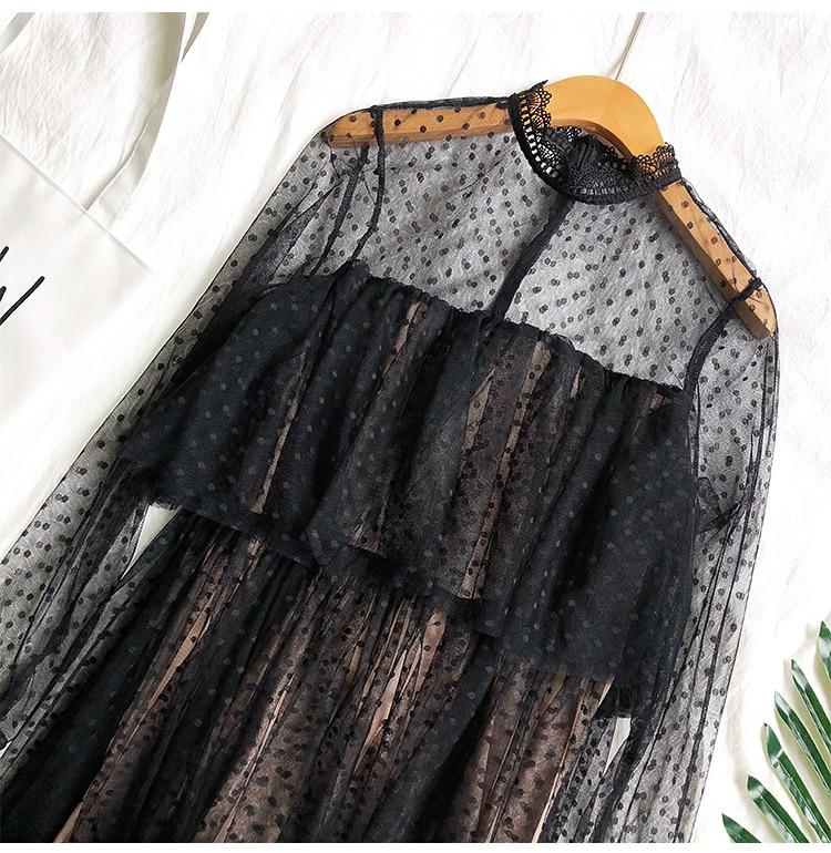 Stand Collar Dot Mesh Ruffles High Waist Long Sleeve Lace Dress