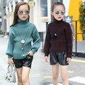 Crianças Meninas Gola Alta Quente Blusas De Malha De Algodão, crianças Meninas Meninos de Gola Alta Camisola de Manga Lanterna w/4 cores