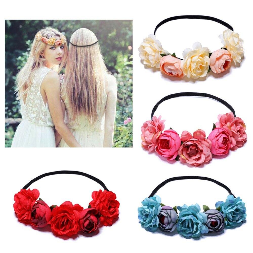 Bohemian Flower Crown Wedding Garland Forehead Hair Head Band Beach Wreath B$