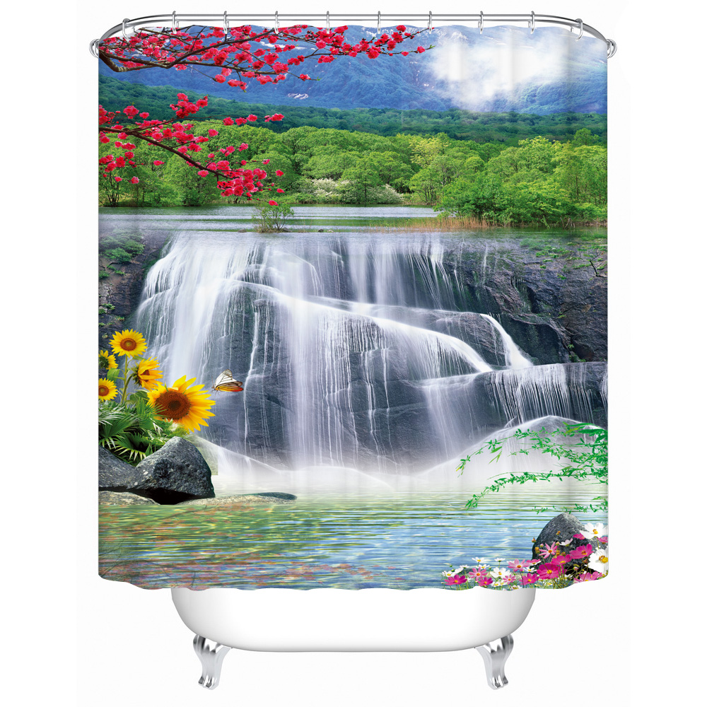 Waterfall Shower Curtain 3d Print Flower Fabric Polyester Machine Washable  Home Decor Bath Set Accessories(