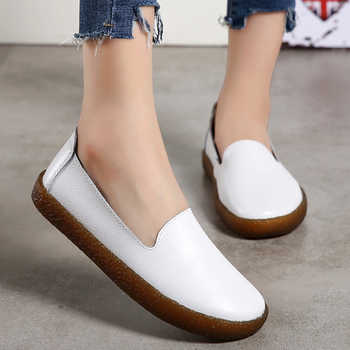 Women Flats Plus Size 43 Genuine Leather Shoes Women Loafers Slip On Moccasins Nurse Flat Shoes Female Leather Casual Shoes - DISCOUNT ITEM  48% OFF All Category