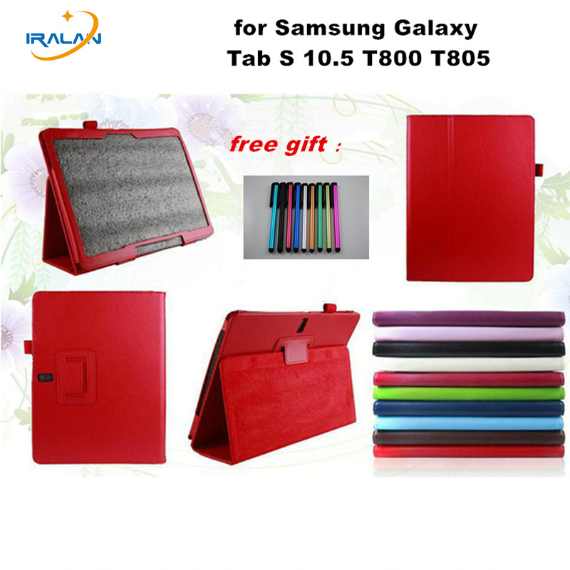HOT Smart Book cover for Samsung Galaxy Tab S 10.5 T800 T805 Tablet Litchi pu Leather Stand Flip Folio Protective case+Stylus for samsung galaxy tab s 10 5 case t800 t805 leather retro tablet fundas coque for samsung tab s 10 5 case cover with stand