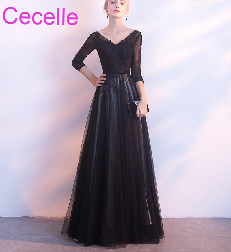 Black Wedding Gowns For Sale: Black Long Modest Bridesmaid Dresses With Sleeves A Line